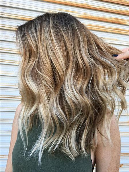Blonde, Balayage, Straight, Highlights, Ash, Part, Natural