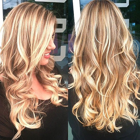 Blonde Highlights Long Women Tips Sexy Ombre