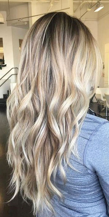 Blonde Balayage Ash Summer Spring Long Layered Highlights