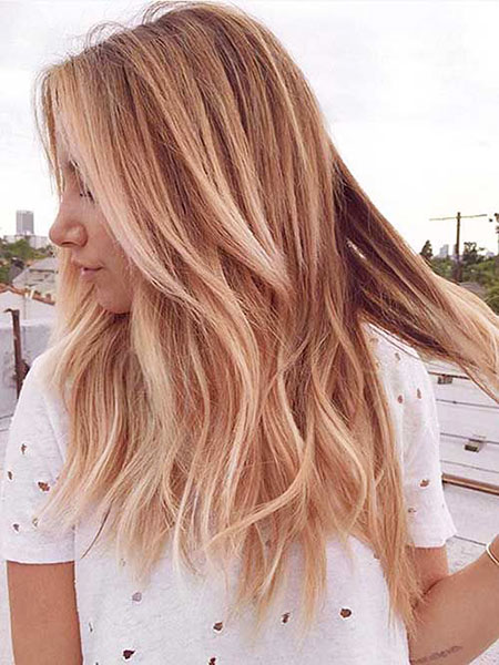 Ombre Blonde Rose Medium Long Gold Simple Length Layered