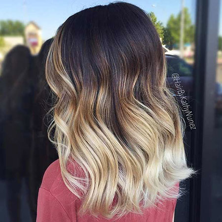 Balayage, Ombre, Blonde, Medium, Length, Summer, Dark