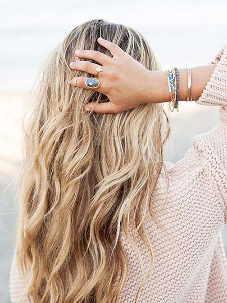Blonde Waves Long Braided Beach Balayage