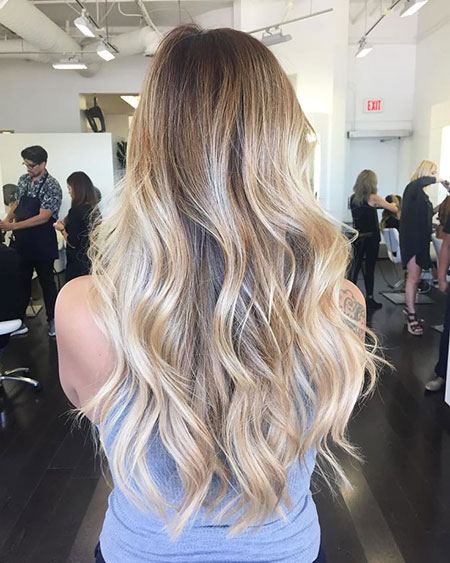 Balayage Blonde Highlights Brown Straight Over