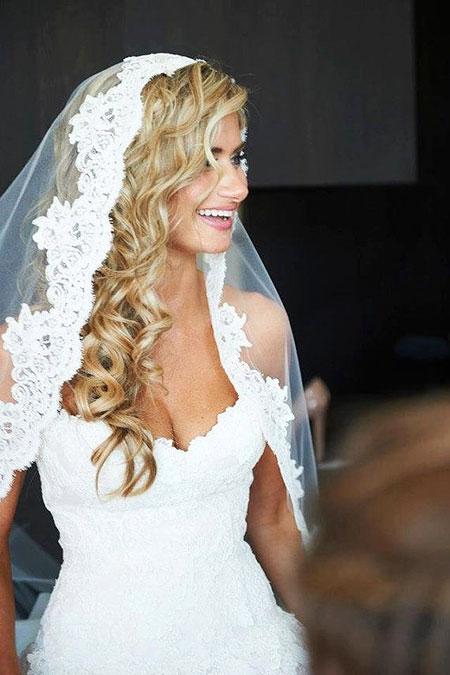Wedding, Veil, Curly, Long, Down, Curls, Classic, Bridal