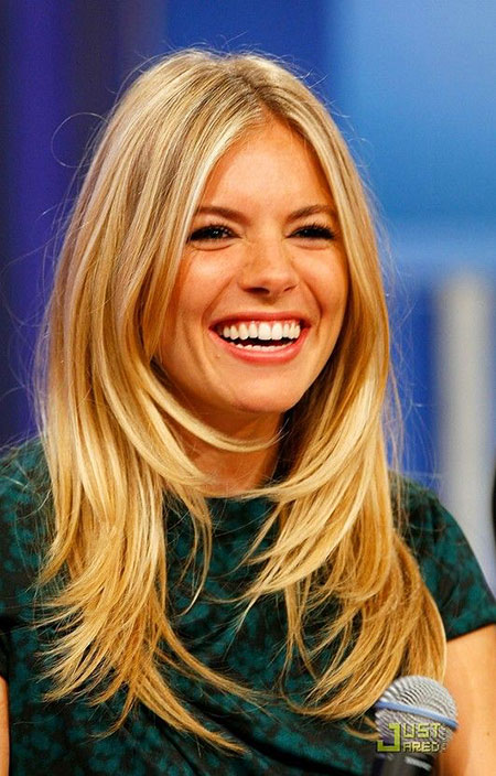 Sienna Miller Medium Long Layered Volume Trendy Texture Side