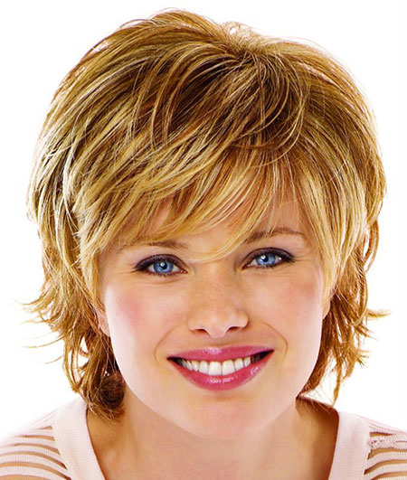 Short Hairstyles, Round, Faces, Women, Wig, Swept