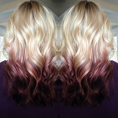 Blonde, Ombre, Gold, Rose, Reverse, Part, Medium, Maroon