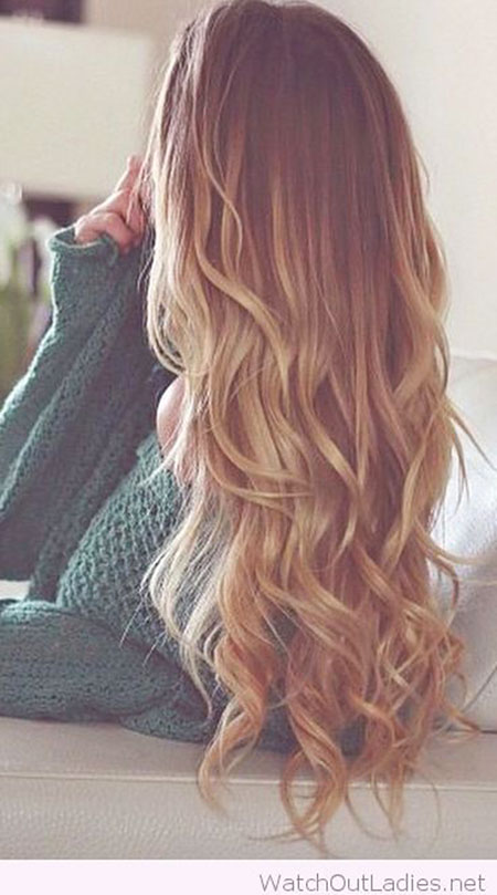 Blonde Ombre Balayage Wavy Very Long Green Curly Brown