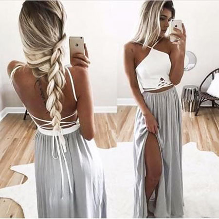 Prom Maxi White Two Silver Side Long Fashion