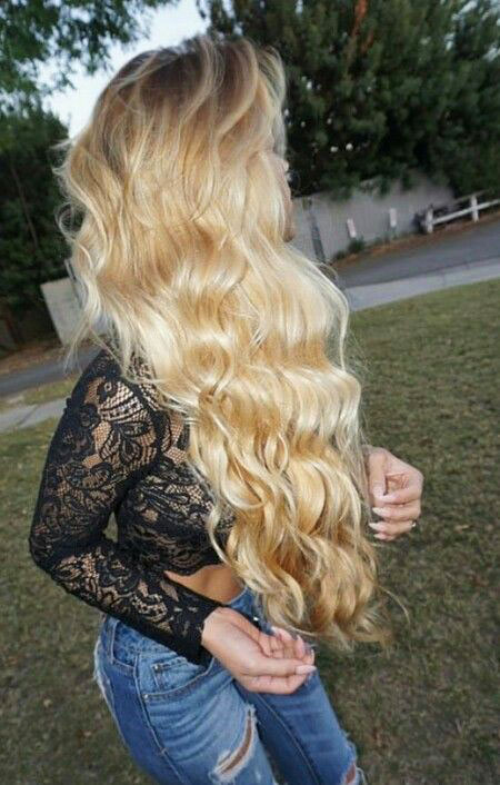 Blonde Waves Highlights Curls Clip Balayage
