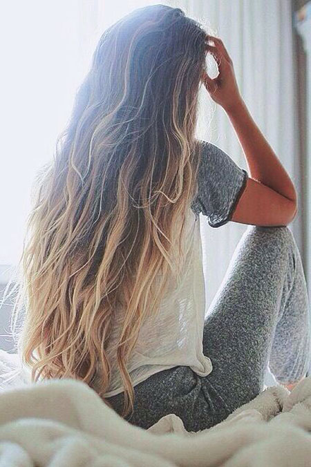 Blonde Wild Waves Summer Ombre Natural Messy Long