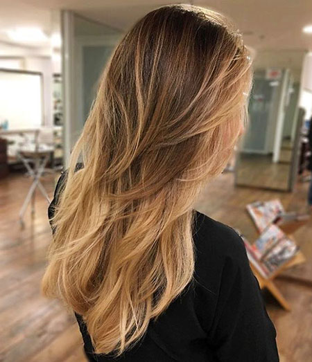 Long Blonde Ombre Brown Straight Simple Layers Layered