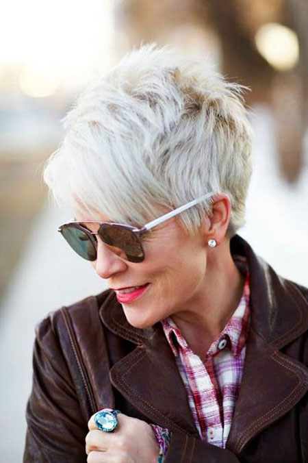Short Hairstyles, Women, Pixie Cut, Wavy, Over, Fine