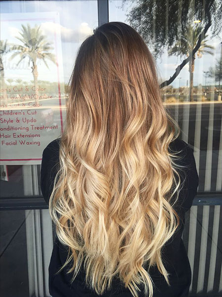 Blonde Ombre Long Balayage Curly