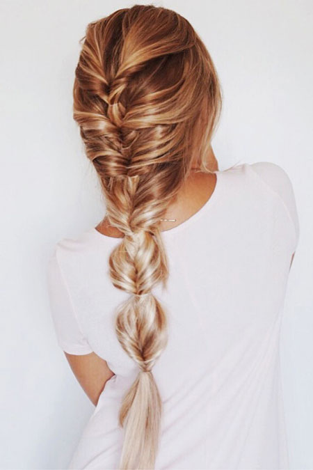 Fishtail, Braid, Blonde, Ombre, Balayage, School, Pink, Locks