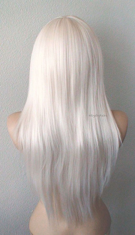 Blonde White Volume Straight Side Platinum Long Gray Daily Bangs