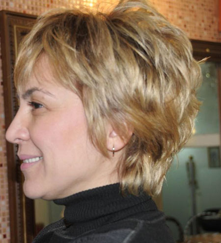 Short Hairstyles, Layered, Women, White, Sandy, Platinum