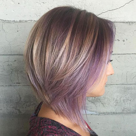 Purple, Highlights, Brown, Blonde Bob Hairstyles, Balayage