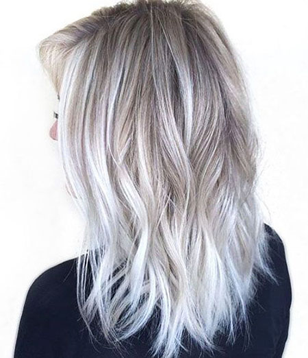 Blonde, White, Silver, Balayage, Winter, Ombre, Medium, Length