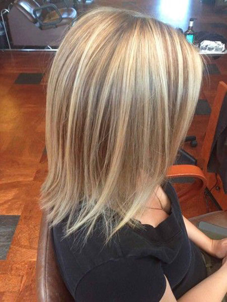 Blonde, Highlights, Length, Medium, Lowlights