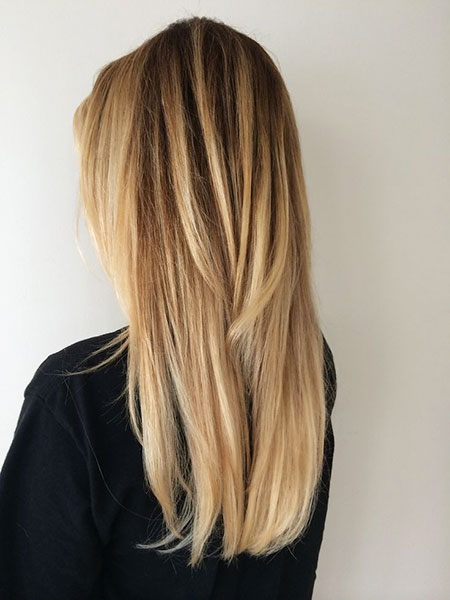 Blonde Balayage Straight Ombre Highlights