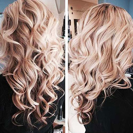 Blonde Curls Ombre Long Layered Highlights Curly