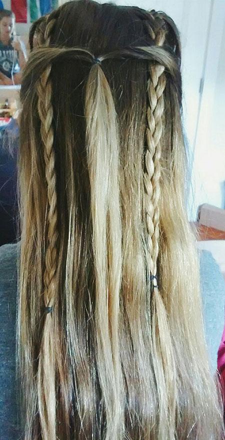 Braid, Waterfall, Fishtail, Braided, Trenza, Long, Braids, Blonde