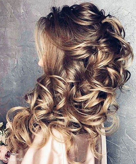 Wedding, Updo, Over, Long, Down, Bridal, Braided