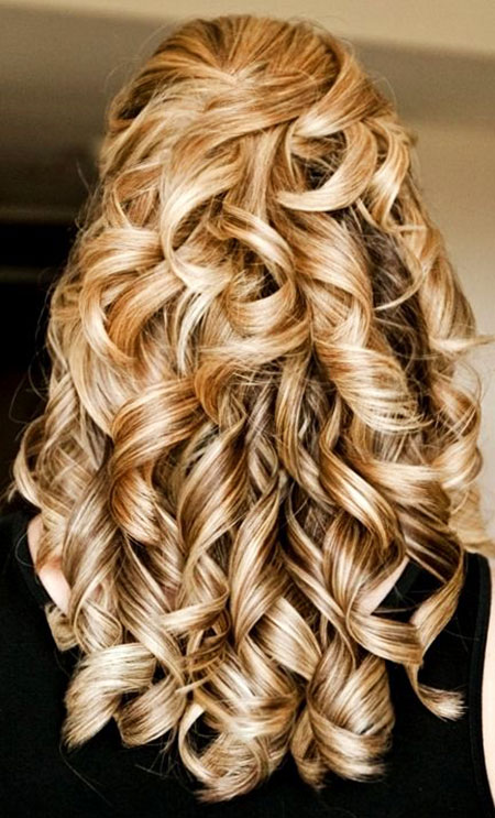 Wedding Curly Waterfall Updos Updo Prom Long Half Curls