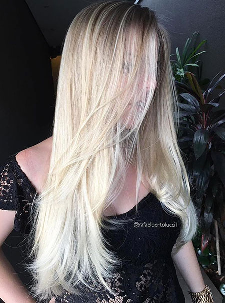 Blonde Platinum Trendy Straight Smooth Shades Long Lengths Layered Dark