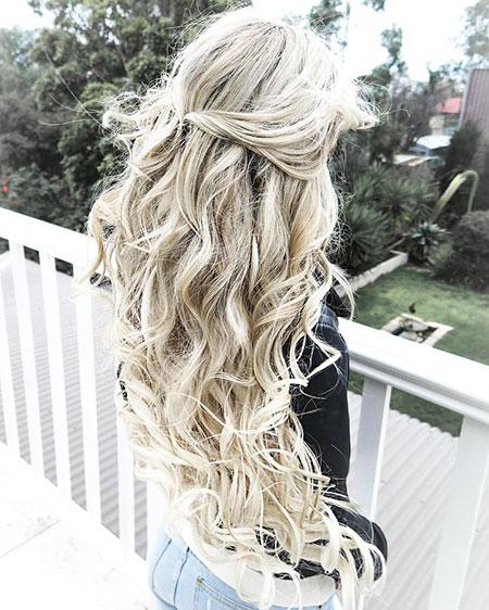 Wedding Curls Bun White Waterfall Tips Sock Braid