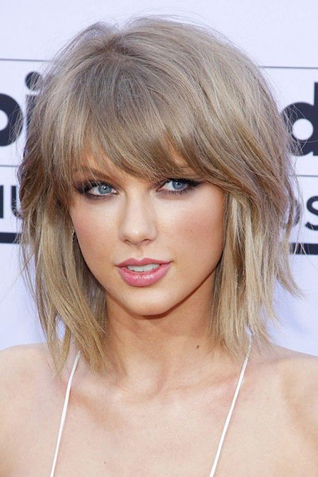 Taylor, Swift, Blonde Bob Hairstyles, Bangs, Natural, Medium