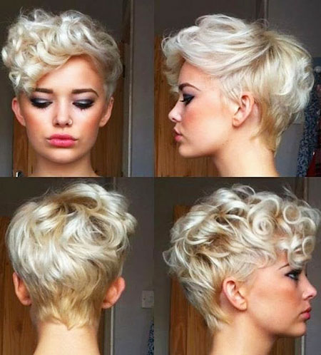 Short Hairstyles, Pixie Cut, Curly, Natural, Highlights, Frisyrer