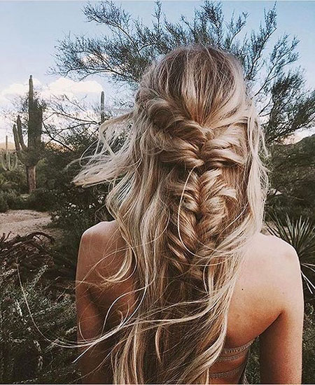 Braided, Braid, Up, Loose, Half, French, Fishtail