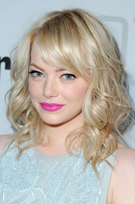 Stone, Medium, Curly, Blonde Bob Hairstyles, Bangs