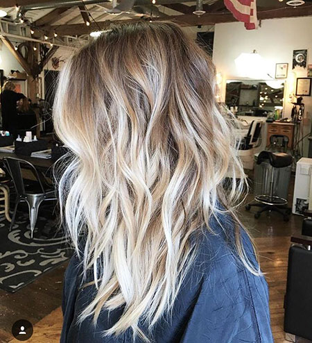 Balayage, Blonde, Wavy, Ombre, Long, Locks, Layers, Chunky