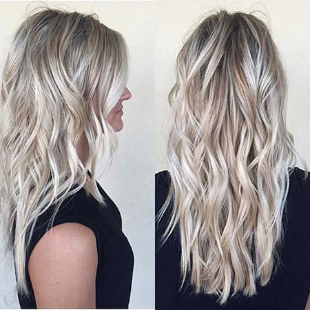 Blonde Balayage Long Grey Frisyrer