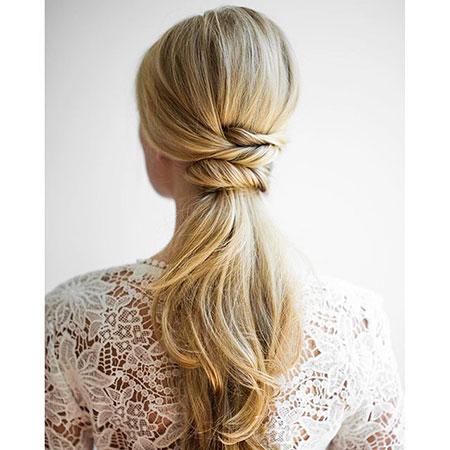Updo, Wedding, Ponytail, Fishtail, Low, Long, Bridal, Braided, Braid, Blonde