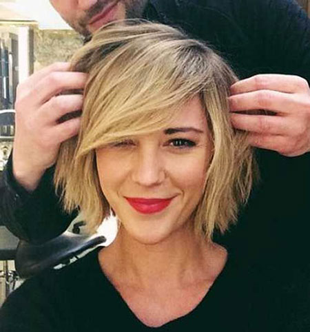Short Hairstyles, Blonde Bob Hairstyles, Bangs, Side, Round, Plus, Faces