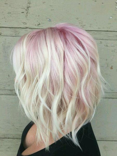 Blonde Hairstyles, Wavy, Platinum, Pink, Pastel, Frisyrer