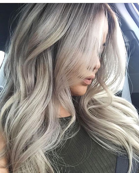 Grey Blonde Silver Highlights Balayage