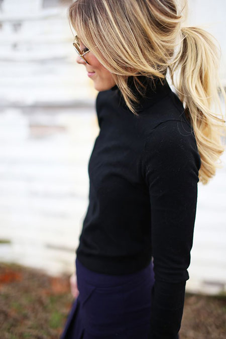Ponytail, Blonde, Up, Sexy, Messy, Long