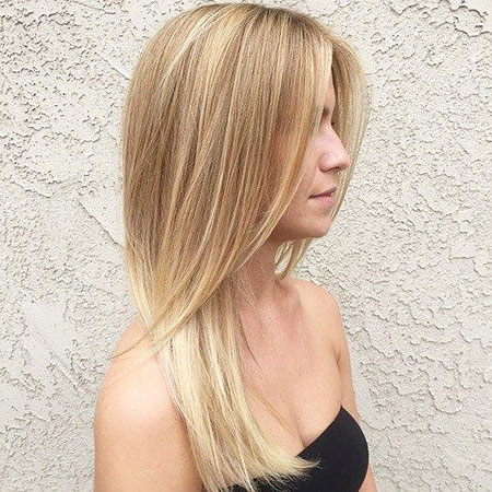 Blonde Balayage Layered Straight Simple Medium Long