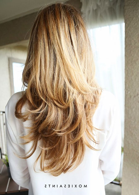 Blonde Long Layered Balayage Up Layers