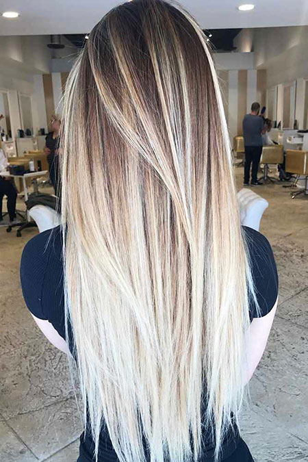 Blonde Long Layered Balayage Women Funky Fun