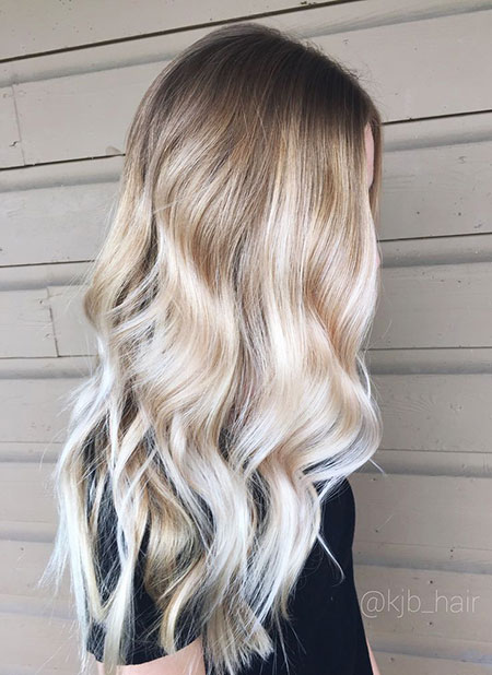 Blonde, Balayage, Waves, Ombre, Long, Ash