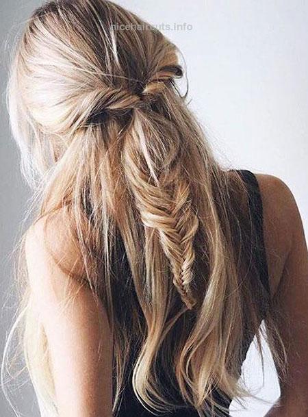 Bun, Braided, Long, French, Fishtail, Fashion, Cute, Braid, Blonde