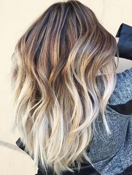 Balayage Blonde Highlights Platinum Ombre Long Layered