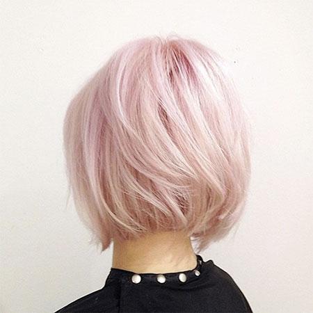 Short Hairstyles, Blonde Bob Hairstyles, Pink, Women, Wavy, Side