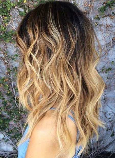 Blonde, Sandy, Balayage, Women, Pretty, Mid, Length, Black